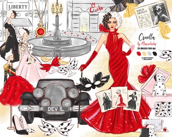 Fashion clipart, Fashion art, Movie clipart, Fashion illustration, Movie character, Dalmatians, Fashion girl clipart