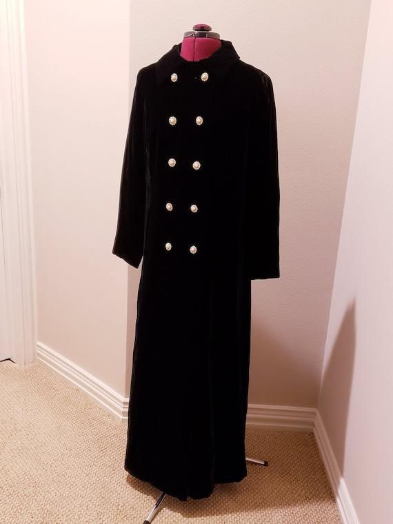 Late 1960s vintage black velvet opera trench coat