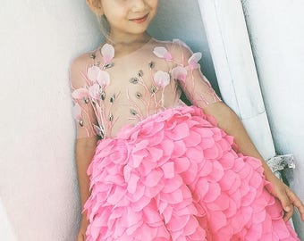 Haute couture dress with shiffon pink skirt made of handmade leaves