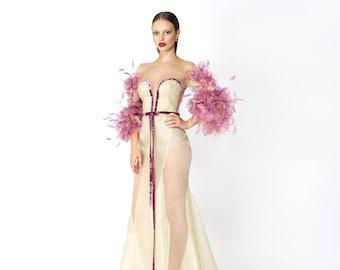 Silk organza dress-skin color with handmade silk blouse Armel