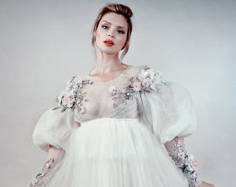 Couture wedding gown, Flower Dress with embrodery