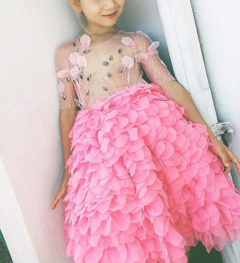 HAUTE COUTURE dress with shiffon pink skirt made of handmade image 0
