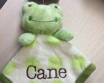 PERSONALIZED Infant Baby Security Snuggly Blankie Frog Ribbit Gund