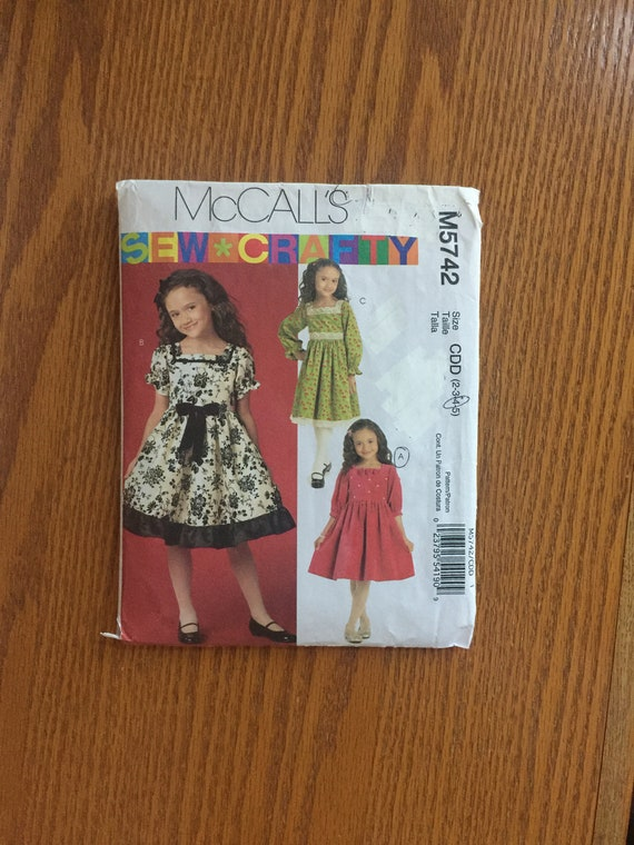 McCall/'s Children/'s Girls Sewing Pattern Shirts 7346 Size CDD 2 3 4 5