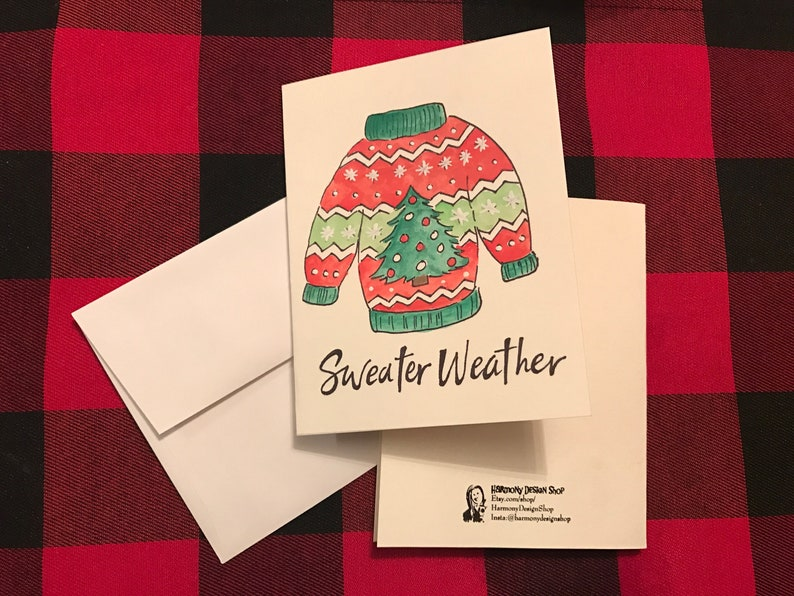 Ugly Christmas Sweater Watercolor Christmas Card Sweater Weather