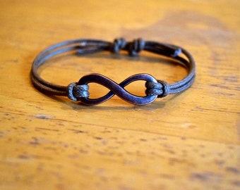 Infinity Bracelet, Copper Infinity Charm, Waxed Cotton Bracelet, Friendship Bracelet, Unisex, Anniversary Gift