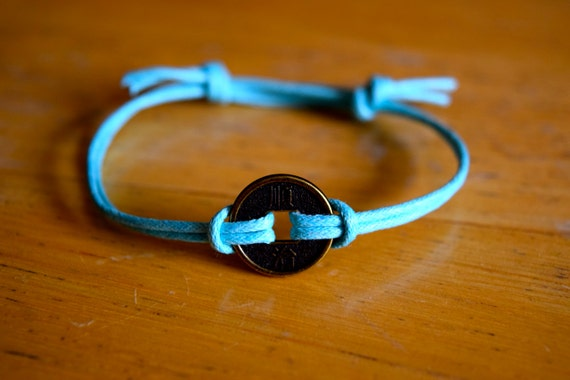 Adjustable Unisex, Good Fortune Wealth Chinese Lucky Coin Charm Bracelet Waxed Cotton Bracelet