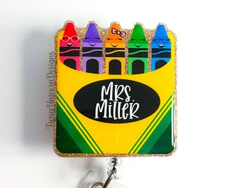 Crayon Box Glitter Badge Reel, Teacher Badge Reel, Teacher Appreciation Badge Reel, Gift for Teacher, Badge Holder, Custom Badge Reel