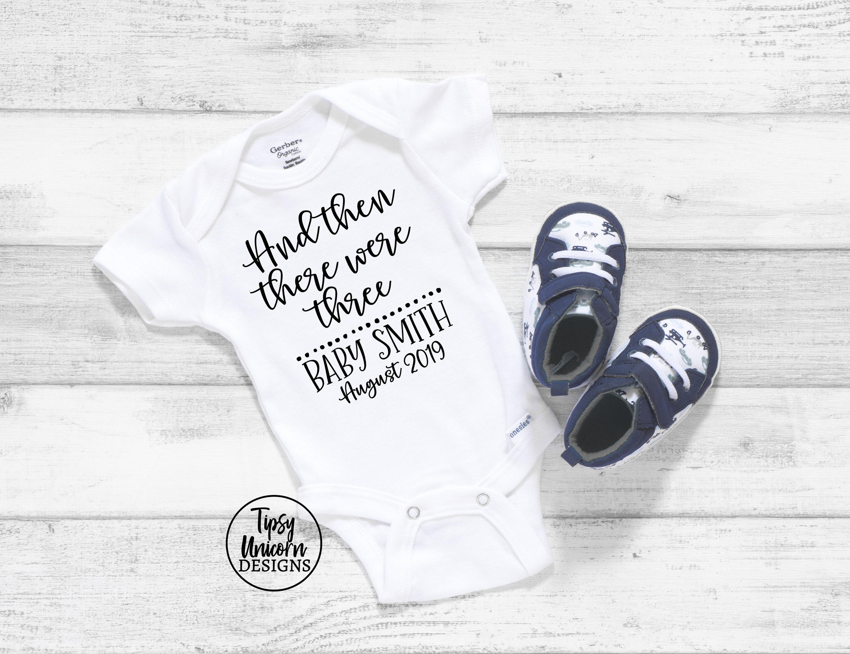 First Baby Announcement Baby Announcement Onesie And Then There Were Three Newborn Onesie Pregnancy Announcement Bodysuit