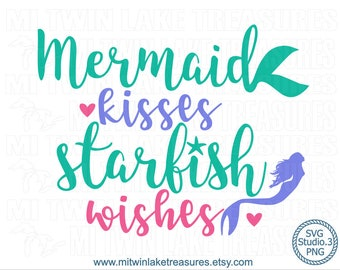 Mermaid Kisses SVG, Instant & Digital Download, For Silhouette and Cricut PNG Studio.3, DIY, Personal and Commercial Use, Summer, Beach, 037