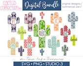 Cactus SVG Bundle, Instant Digital Download, For Silhouette and Cricut, PNG, Studio.3, DIY, Personal and Commercial Use, Boho Aztec, 002