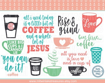 Coffee Lover's SVG Bundle, Instant & Digital Download, For Silhouette and Cricut, PNG, Studio.3, DIY, Personal and Commercial Use, 014