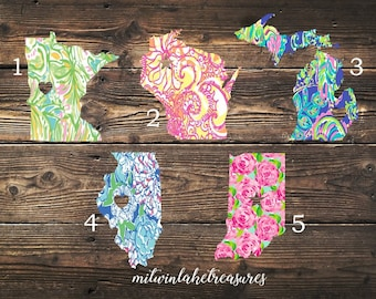 Lilly Inspired City & State Decal / Minnesota, Wisconsin, Michigan, Illinois, Indiana / Custom Size, Color / Yeti, Home State Decor