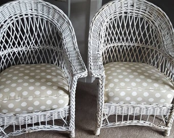 Matching Pair of Wicker Chairs. Box Spring Cushions. Local PICK-UP