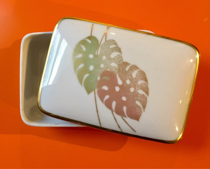 with copper and green leaves  Germany made vintage Rosenthal porcelain trinket box Perfect Rosenthal fine china trinket or jewelry box