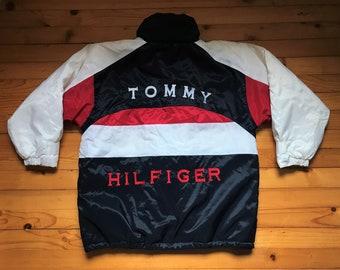 0b4361f2dc4 Vtg TOMMY HILFIGER jacket windbreaker • 80s 90s Hip hop Rap Vintage Retro  Old school   Nike Adidas Gucci Kappa Versace Jordan Kani   size XL