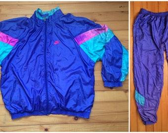 Vtg NIKE shell suit windbreaker pants • 80s 90s Hip hop Rap Vintage Retro  Old school   Adidas Hilfiger Jordan Kani Gucci Kappa   size XL 5eaaf468d