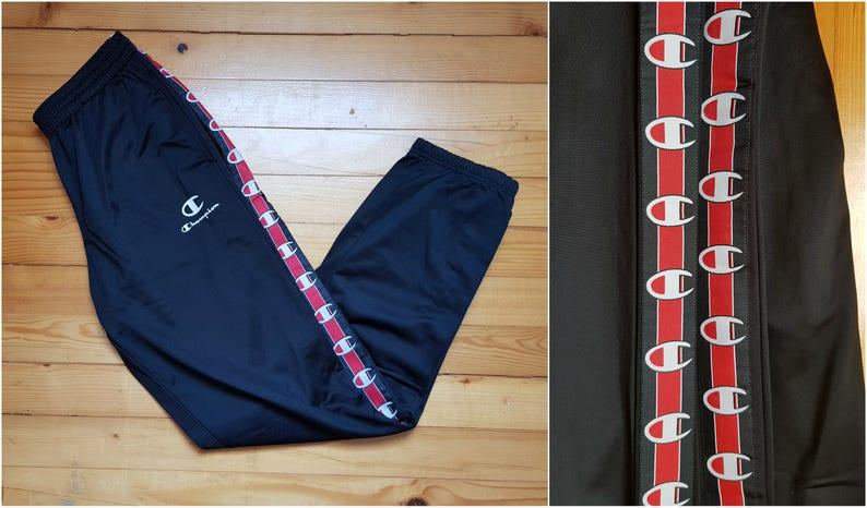 Vtg Deadstock CHAMPION track pants joggers • 80s 90s Hip hop Rap Vintage  Retro Old school / Nike Adidas Kappa Gosha Gucci Hilfiger / size L