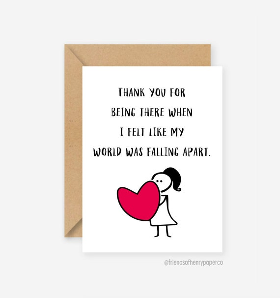 Thank You Card Thank You Friend Card Thanks Friendship Etsy