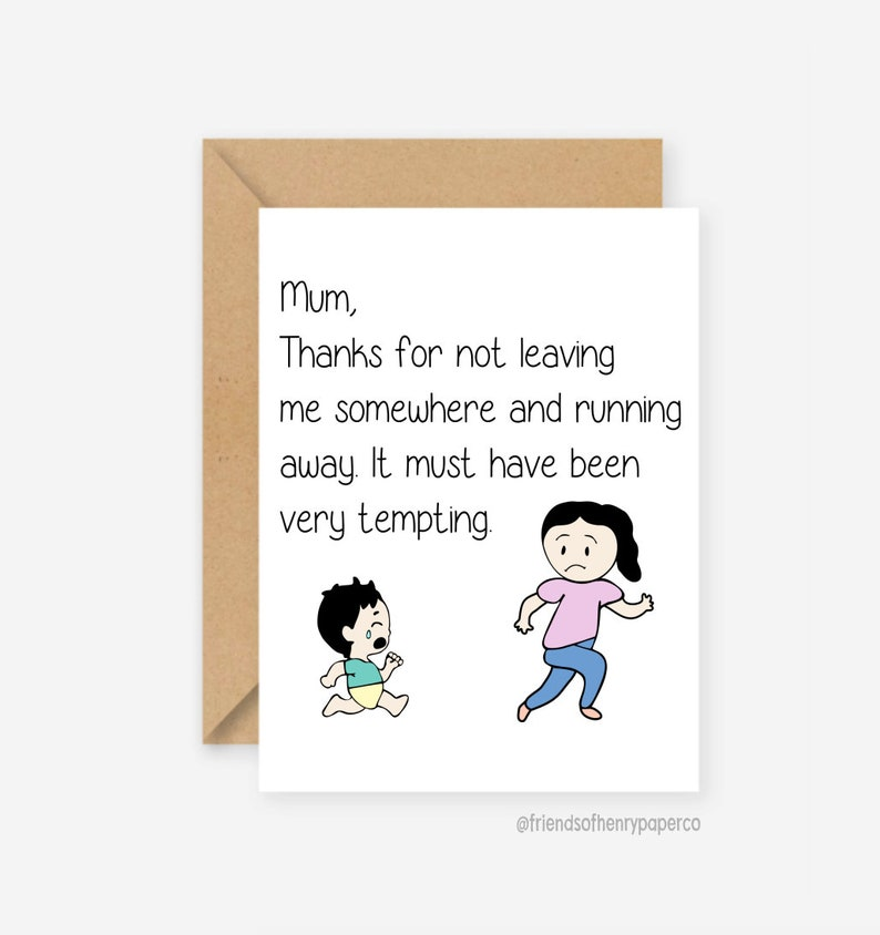 Funny Birthday Card For Mum Mom Cards Greeting Christmas Favourite Child Mothers Day