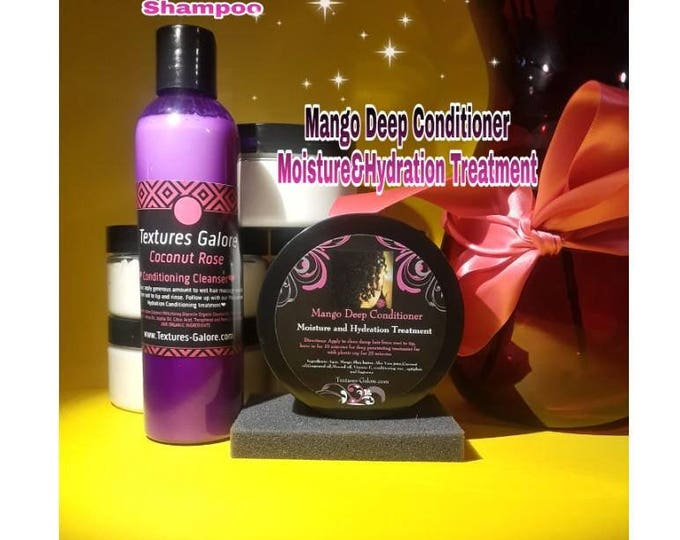 Duo: Coconut milk &Rose Conditioning Cleanser and Mango Deep conditioner. Moisture and Hydration treatment (sulfate free)