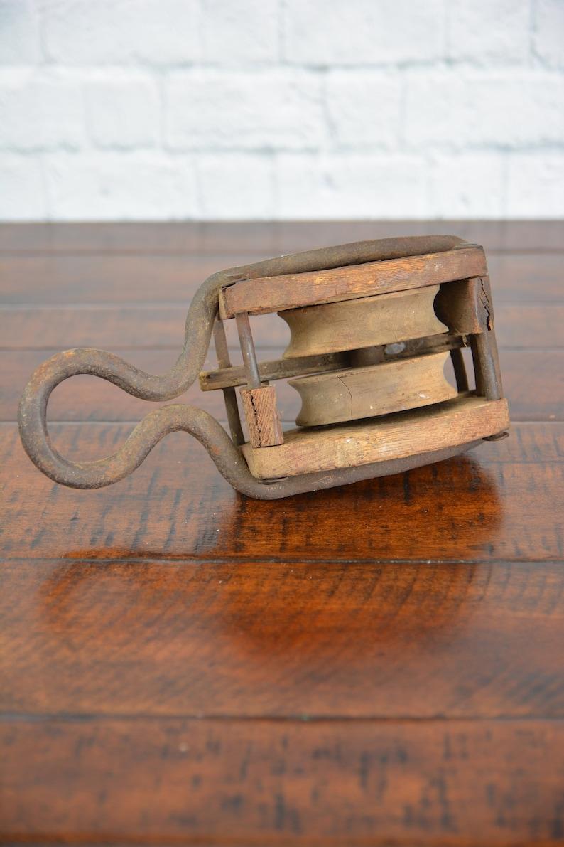 Vintage Wooden Pulley Primitive Decor Rustic Decor Antique Pulley