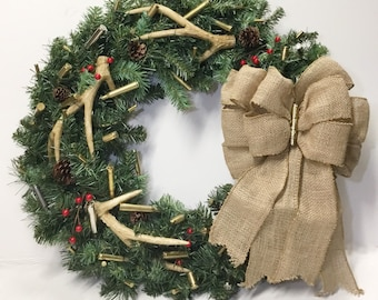 4becb9b5e1f20 Bullet Ammo Deer Antler Wreath-Made For All Seasons With Personalized Bullet