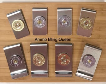 12 Gauge Money Clips In 12 Or 20 Gauge Shells Slim, Single or Double (Stainless Steel) All Brands Winchester/Remington/Federal/USA