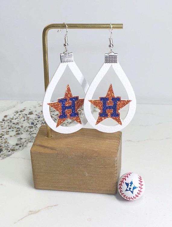 Houston Astros Double Glitter H Leather Earrings