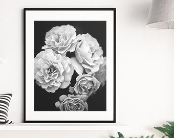Roses Print, Black and White Art, Flowers Print, Rose Printable, Rose Photograph, Photography Print, White Rose Art, White Flower Art, Roses