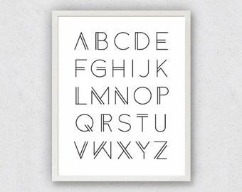 Alphabet Art, ABC Prints, Nursery Art Print, Black White Alphabet, Typography Art, Alphabet Poster, Kids Room Art, Baby Shower Gift, Letters
