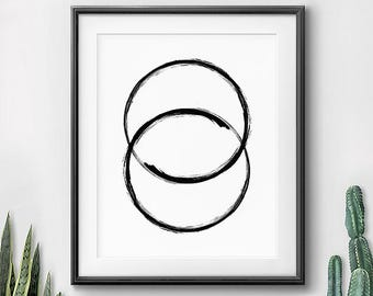 Modern Decor, Contemporary Art, Unity, Printable Wall Decor, Digital Art Print, Geometric Minimalism, Paint Circle, Modern Abstract, 11x14