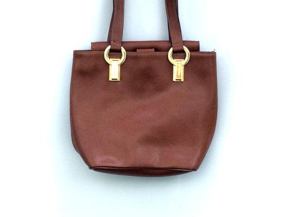 90's IACUCCI Vintage Leather Handbag •  Brown Shou