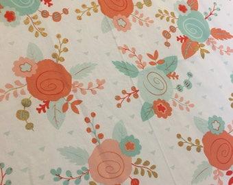 Coral, Peach, Teal, Aqua Floral Crib Sheet - Free Shipping!