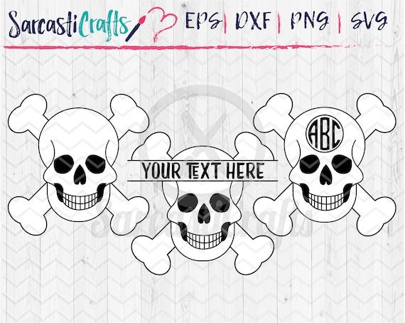 Skull And Crossbones Monogram Frames Bundle Set Of 3 Svg Etsy