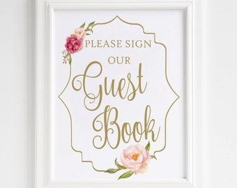 Guestbook Sign, Please Sign Our Guest book Sign, Wedding Guestbook Printable Sign, Floral Guestbook Sign, Floral Wedding Decor,