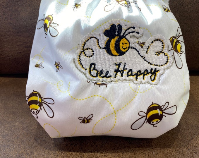 Cloth pocket diaper with bees -bee happy embroidered diaper