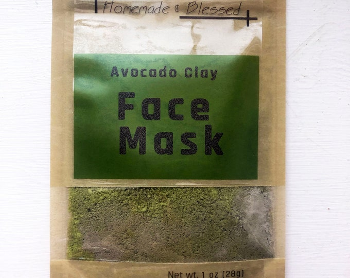 Moisturizing Avocado Clay Face Mask. Organic Face Mask. Great for gifts!