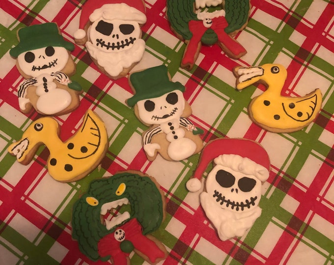 Christmas Cookie Cutters Inspired by Nightmare Before Christmas. Scary Wreath, Snowman Jack Skellington, Sandy Claws, and Duck Toy.