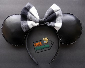 Fashion Plaid Reversible Bow Disney Inspired Mouse Ears ... Free Shipping !!!