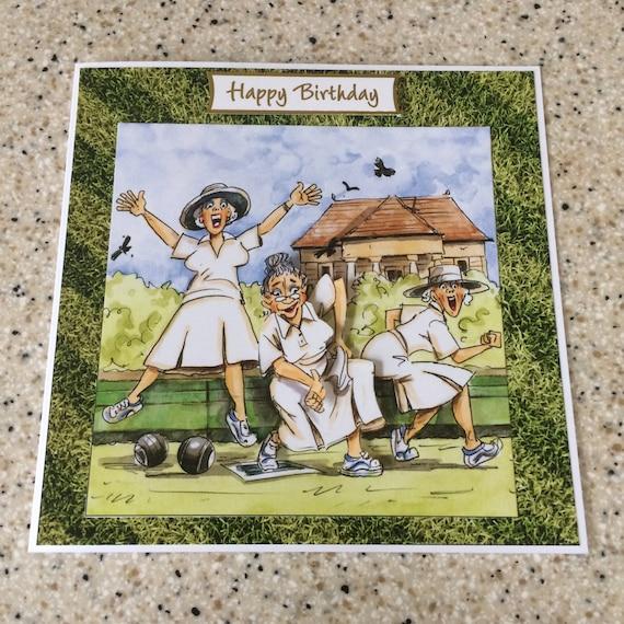 Handmade Birthday Card 3d Decoupage Humourous Female Bowls Etsy