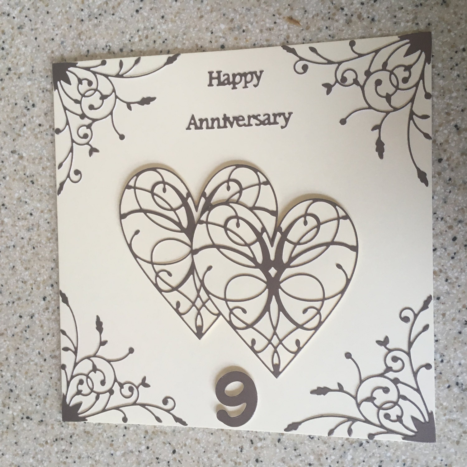 Pottery Wedding Anniversary Gifts: Large 8 Square Handmade Happy Pottery Wedding