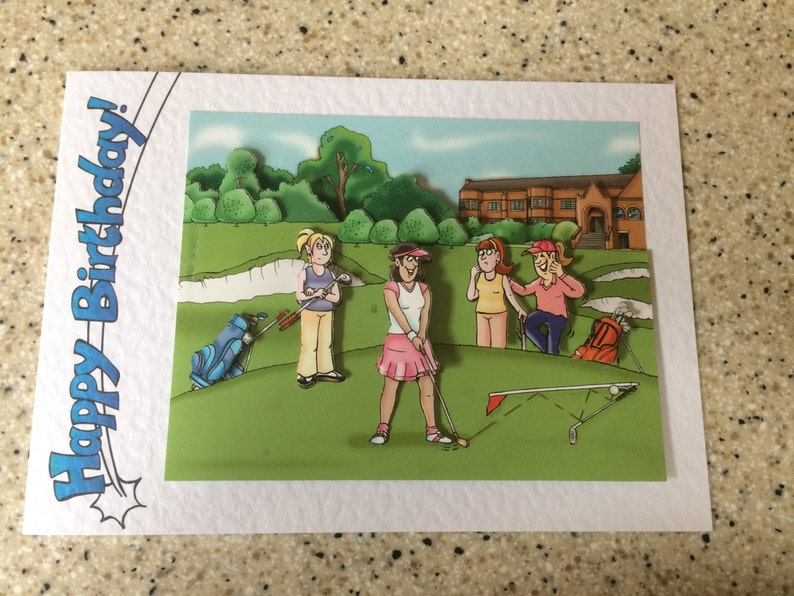 Handmade Birthday Card 3D Decoupage Humourous Female Golf