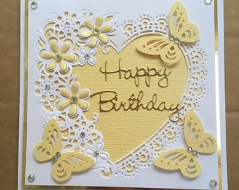 "Handmade Happy Birthday card delicate heart with yellow pearlescent flowers & butterflies embellished with faux crystals 6"" square"