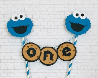 Cookie Monster Inspired Smashcake Topper/ Banner/ Sesame Street Cake / Cookie Monster Cake Bunting/ Cookie Monster cake topper