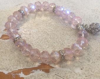 Pink Faceted Bead Bracelet