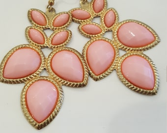 Pink and Gold Petal Earrings
