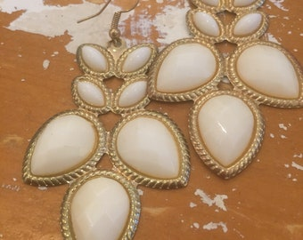 White and Gold Petal Earrings