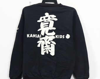Vintage 90 s Kansai Yamamoto Kids Kansai O2 Kansai Eye Designer Sweatshirt  Pullover Jumper Black Color Size Medium e749f9e48