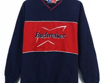 vintage budweiser sweatshirt spell out pull over jumper crew neck embroidery nice design retro jumper sweater size medium